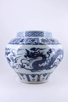 Ming Blue&White Dragon Porcelain Tank Pot