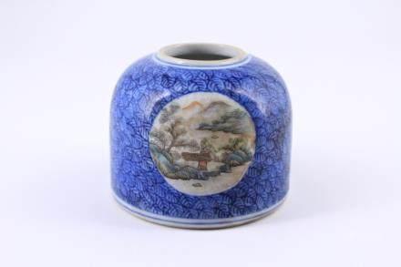 Qing Blue Famille Rose Porcelain Jar GuangXu Mark