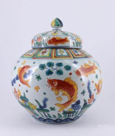 Qing Dou Cai Fish Porcelain Jar with Lid with Jia