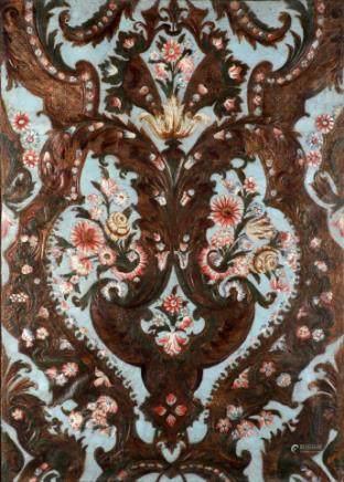 彩色镀金皮革墙面板装饰着鲜花