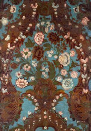 彩色镀金皮革墙面装饰着鲜花
