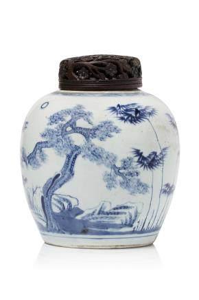 Chine, XIXe siècle Pot à gingembre en porcelaine et bleu sous couverte