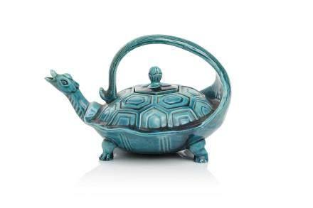 Chine, XIXe siècle Théière en céramique et glaçure turquoise