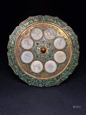 A Gilt Bronze And Stone Mirror