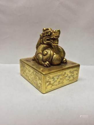 A Gilt Bronze Dragon Seal