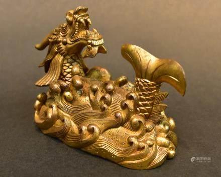 A Gilt Bronze Dragon Paperweight