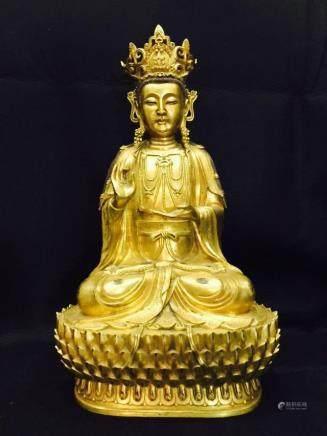 A Gilt Bronze Guanyin