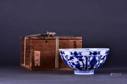 A BLUE AND WHITE 'FIGURE' BOWL, MING DYNASTY, WANLI PERIOD