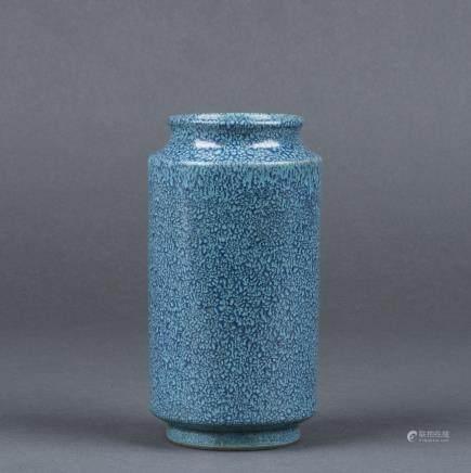 A ROBIN'S-EGG GLAZED JAR, QING DYNASTY, QIANLONG PERIOD