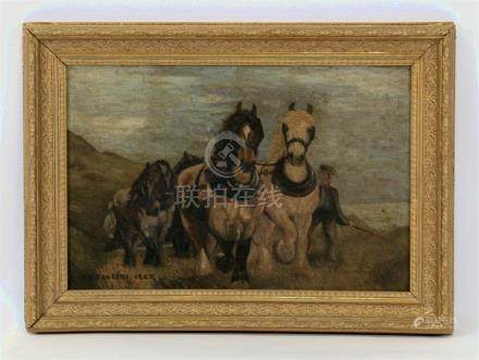 F H Jenkins, Welsh school, naive team of horses with handler ploughing, signed and dated 1927