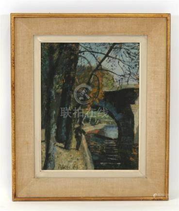 M Pilou, French school, Parisian scene, figure fishing in the Seine, signed and dated 63 lower