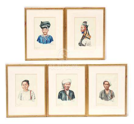 Yatanabon Maung Su (1903-1965) five framed & glazed watercolours by the Burmeseartist of indigenous