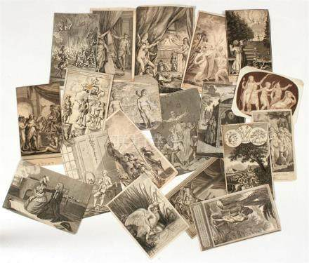 A collection of twenty 18th century and earlier engravings, including classical and memento mori.