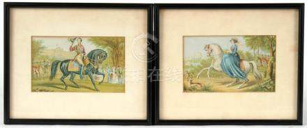 A pair of Baxter prints in black frames, Queen Victoria and Prince Albert on horseback. 14.5cm by