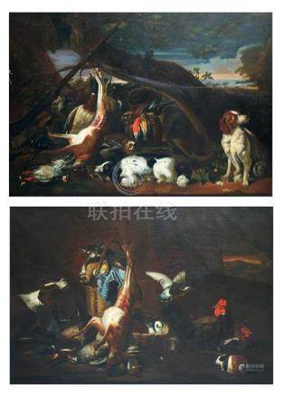 G. Vincentinni Naples, 1879, A pair of large after the hunt scenes with hanging game and venison,
