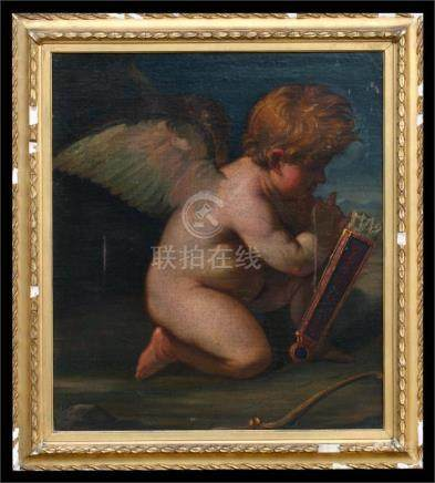 Victorian School - Cupid with a bow and quiver of arrows - oil on canvas in ornate gilt frame, 74 by