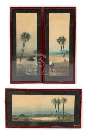 Three early 20th century watercolours depicting Arab scenes, framed and glazed. ??????