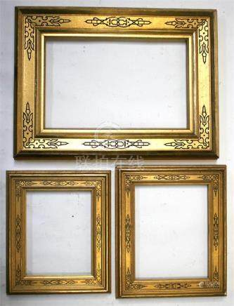 Three antique gilt picture frames with black line decoration.?????????