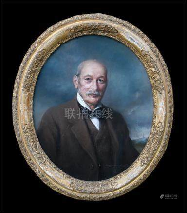 A late 19th early 20th century oval portrait of a gentleman, indistinct signature lower right,