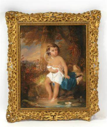 Fanny Doetger Corbaux (1812-1883) \The water lily\, young child bathing in a pond, signed lower left