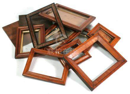 A quantity of Victorian maple picture frames; together with a Sorrento ware picture frame (box).