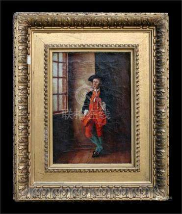 An early 19th century portrait of a gentleman smoking a clay pipe, oil on canvas, framed, 24.5 by