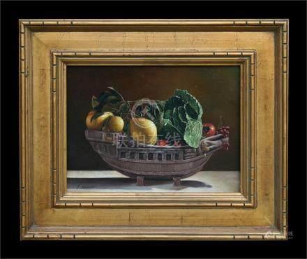 F. Warner -Still Life of Fruit in a Basket - signed lower left, oil on board, framed, 39 by 29cms (