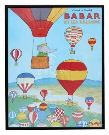 Laurent de Brunhoff - Barbar et le Ballons - poster, framed & glazed, 59 by 79cms (23.25 by 31ins).