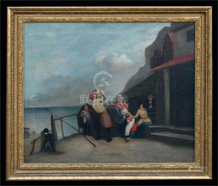 Victorian School - A Fisherman Returns - oil on canvas, framed, 74 by 61.5cms (29.2 by 24.25ins).