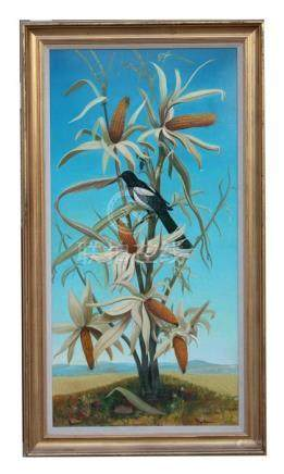 Andre Quellier (1925-2010) - A Magpie on a Maize Plant - signed lower right, oil on board, framed,