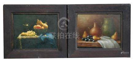 A pair of still life paintings - Fruit & Vases - oil on boards, framed, 24 by 19.5cms (9.5 by 7.