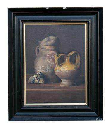 English School - Still Life of Seashell & Jugs - oil on panel, framed, 24 by 33cms (9.5 by 13ins).