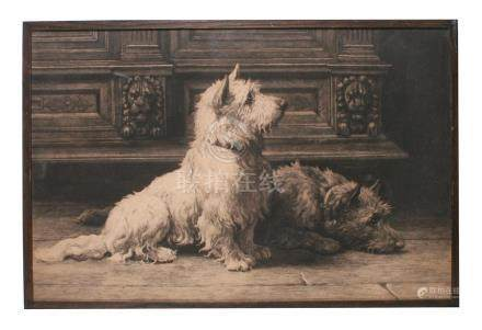 Herbert Dicksee (1853-1928) \ Footsteps \ West Highland Terrier and a Scottish Terrier Dog, label to