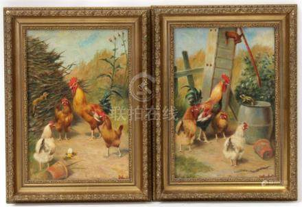 William Weekes (1856-1904) - A Farmyard Scene with Chickens and a Broken Egg - signed lower right,