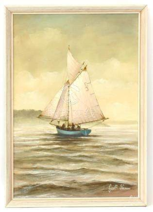 Geoff Shaw - Working Boat off Trefusis, a Gaff Rigged Inshore Fishing Boat - signed lower right, oil