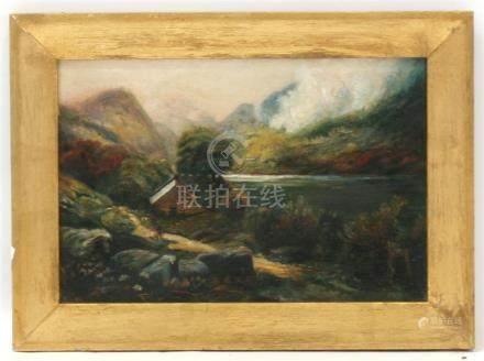 C James (Victorian School) - Mountainous Lake Scene with Figure in Foreground - signed lower