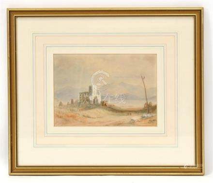 Manner of David Roberts - Leventine Landscape - watercolour, framed & glazed, 24 by 17cms (9.5 by