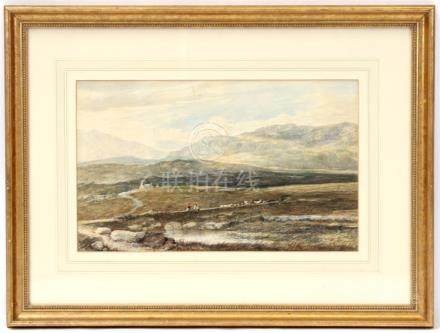 Attributed to Albert Goodwin (1845-1932) - Highland Moorland Scene with Figures, Cattle & Sheep -