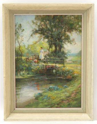 F. Dixon (1862-1936) Post Impressionist - Figure on a Country Bridge - signed lower right, oil on