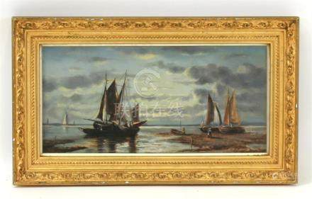 Victorian School - Fishing Boats at Dusk - oil on canvas, framed & glazed, 29 by 14cms (11.5 by 5.