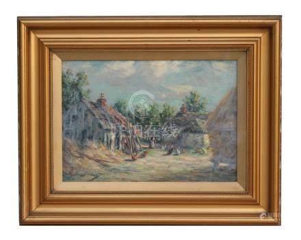 Attributed to Joseph Gray (1890-1963) impressionist - Farmyard Scene with Figure Feeding