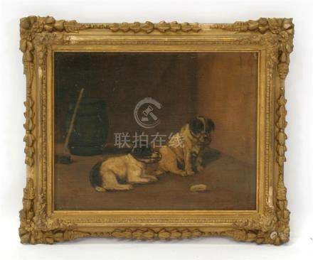 Arthur Gull, Victorian School - Two Muzzled Terriers - signed lower right, framed, 24 by 19cms (9.