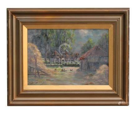 Attributed to Joseph Gray (1890 - 1963) impressionist -Farmyard Scene with Chickens in the
