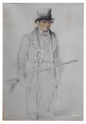 Victorian School - Portrait of a Horse Manure Shoveller - watercolour, framed & glazed, 25.5 by