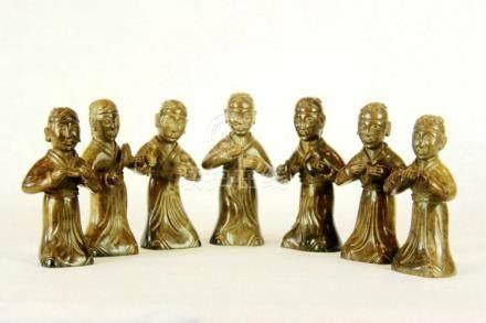 Wonderful Set of Seven Jade Musicians