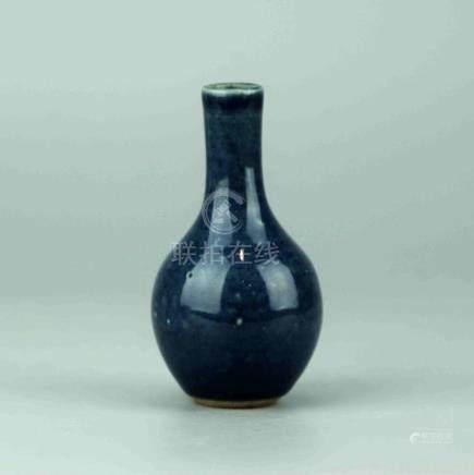 Small Chinese Monochrome Blue Porcelain Vase