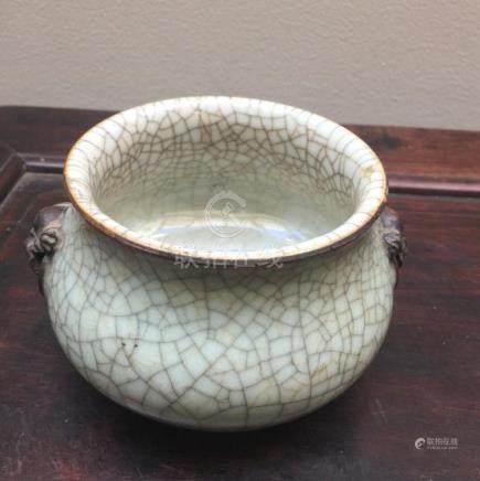 Chinese Geyao Crackle Glazed Porcelain Censer