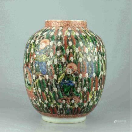Chinese Famille Verte 'Hundred Arhats' Jar