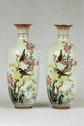 Pair of Chinese Famille-Rose Porcelain Vases (2)