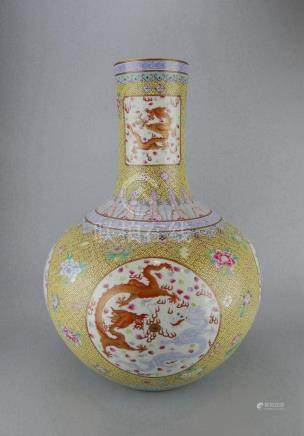 Large Chinese Yellow Underglaze Famille Rose Vase